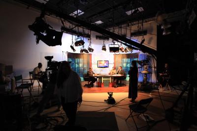 Photo of live webcast preparations from MediaMix Studio B.