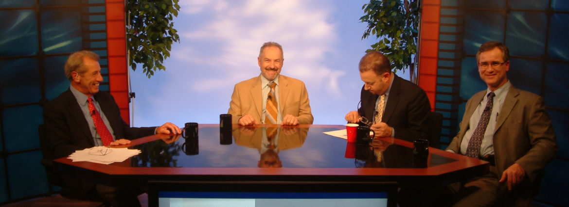 Photo of a round table discussion In Studio B for an on-demand presentation.