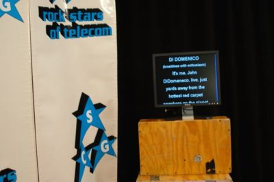 Photo of an off-screen teleprompter