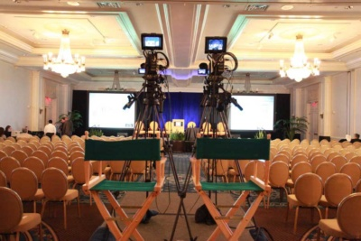 Two camera shoot for a live webcast at a hotel
