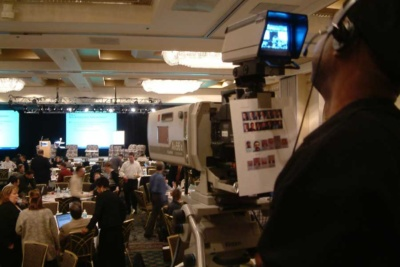 Live webcast at a hotel with a sports lens for IMAG.