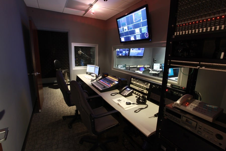 Audio control room at MediaMix Studios.