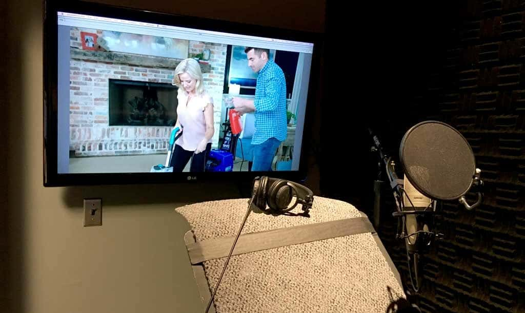 Photo of an ADR set-up in an audio booth