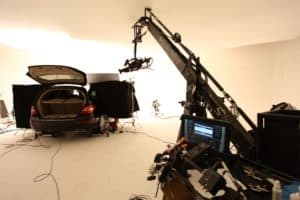 Production photo of a Mercedes shoot in Studio A at MediaMix Studios using a Russian Arm