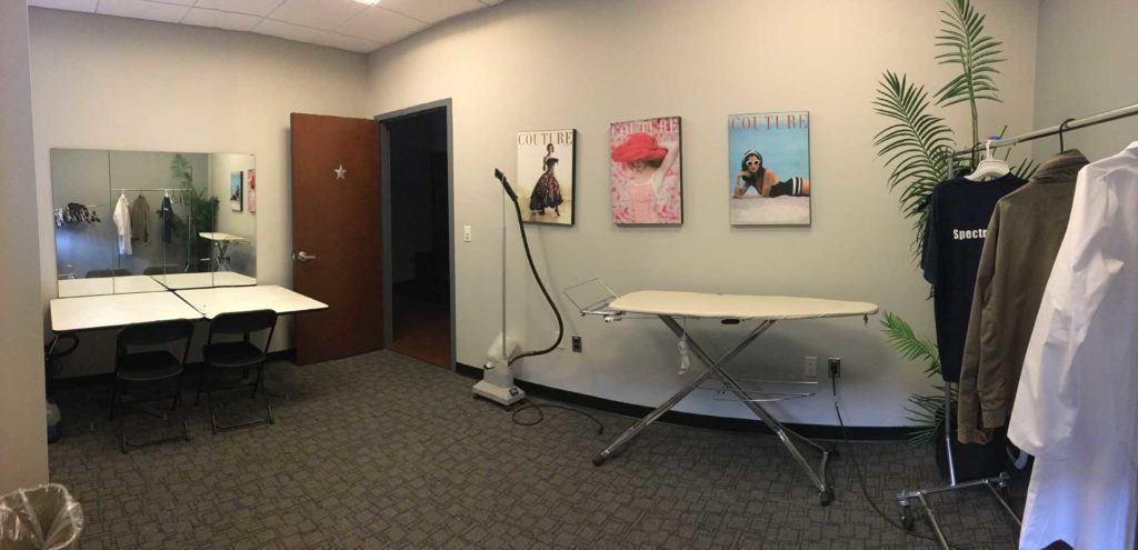 Wide shot of wardrobe room at MediaMix Studios